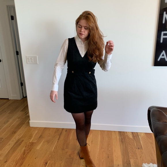 H&M Dresses & Skirts - Black faux suede mini dress with gold buttons